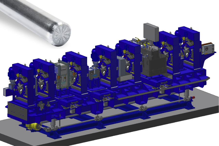 Testing system for bright steel peeling line